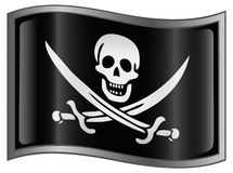 Pirate Flag button Royalty Free Stock Photo
