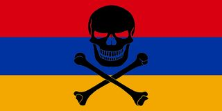 Pirate flag combined with Armenian flag. Armenian flag combined with the black pirate image of Jolly Roger with crossbones Royalty Free Stock Photography