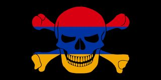 Pirate flag combined with Armenian flag. Black pirate flag with the image of Jolly Roger with crossbones combined with colors of the Armenian flag Stock Photography