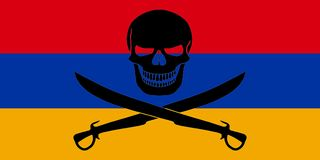 Pirate flag combined with Armenian flag. Armenian flag combined with the black pirate image of Jolly Roger with cutlasses Royalty Free Stock Photo