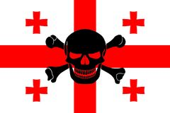 Pirate flag combined with Georgian flag. Georgian flag combined with the black pirate image of Jolly Roger with crossbones Royalty Free Stock Photo