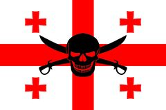 Pirate flag combined with Georgian flag. Georgian flag combined with the black pirate image of Jolly Roger with cutlasses Royalty Free Stock Images