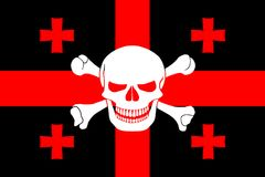 Pirate flag combined with Georgian flag. Black pirate flag with the image of Jolly Roger with crossbones combined with colors of the Georgian flag Royalty Free Stock Photo