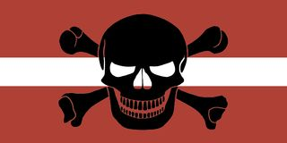 Pirate flag combined with Latvian flag. Latvian flag combined with the black pirate image of Jolly Roger with crossbones Stock Photos