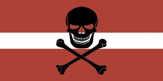 Pirate flag combined with Latvian flag. Latvian flag combined with the black pirate image of Jolly Roger with crossbones Stock Images