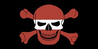 Pirate flag combined with Latvian flag. Black pirate flag with the image of Jolly Roger with crossbones combined with colors of the Latvian flag Royalty Free Stock Photography