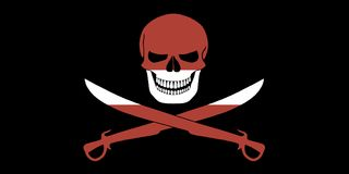 Pirate flag combined with Latvian flag. Black pirate flag with the image of Jolly Roger with cutlasses combined with colors of the Latvian flag Stock Image