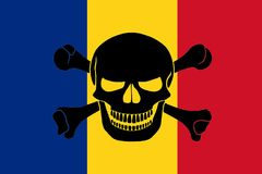 Pirate flag combined with Romanian flag. Romanian flag combined with the black pirate image of Jolly Roger with crossbones Stock Photo