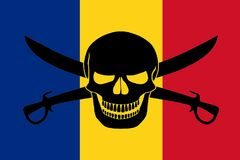 Pirate flag combined with Romanian flag. Romanian flag combined with the black pirate image of Jolly Roger with cutlasses Royalty Free Stock Photos