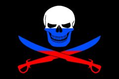 Pirate flag combined with Russian flag Royalty Free Stock Photos