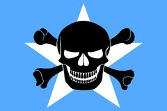 Pirate flag combined with Somalian flag. Somalian flag combined with the black pirate image of Jolly Roger with crossbones Stock Images