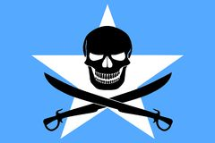Pirate flag combined with Somalian flag. Somalian flag combined with the black pirate image of Jolly Roger with cutlasses Stock Photography