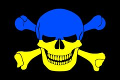 Pirate flag combined with Ukrainian flag Stock Image