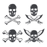 Pirate flag Design Elements. Skull with bones and swords vector Stock Images