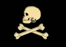 Pirate Flag with gold skull and bones Royalty Free Stock Image