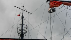 Pirate flag on a historic ship stock video footage