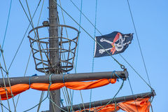 Pirate flag on a historic ship Royalty Free Stock Photos