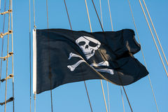 Pirate Flag With Human Skull Stock Photo