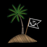 Pirate flag with palm tree embroidery stitches imitation on blac Stock Photo
