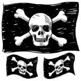 Pirate flag sketch. Doodle style jolly roger skull and crossbones illustration in vector format stock illustration