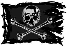 Pirate flag with a skull. Black pirate flag with skull and bones Stock Photo
