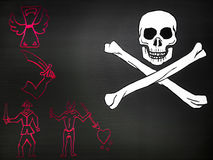 Pirate flag with skull Royalty Free Stock Image