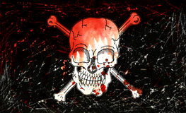 Pirate flag with skull Stock Photos