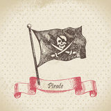 Pirate flag with a skull Stock Photo