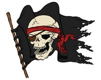Pirate flag with skull Stock Images