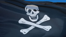 Pirate flag in slow motion seamlessly looped with alpha stock video footage