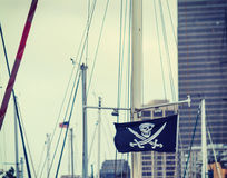 Pirate flag surrounded by masts Stock Photos