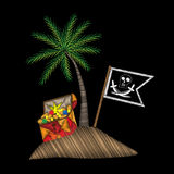 Pirate flag and trunk with palm tree embroidery stitches imitati Stock Photos