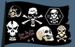 Pirate flag vector skull set Stock Photos