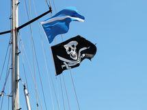 Pirate flag waving Royalty Free Stock Photo