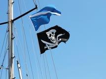 Pirate flag waving royalty free stock photo