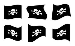 Pirate Flags. Vector Illustration of Pirate Flags Waving Stock Photo