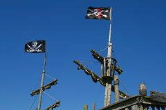 Pirate flags. Pirates flag flies high in the wind Royalty Free Stock Image