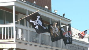 Pirate Flags on Balcony stock footage