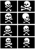 Pirate flags with skulls and crossbones Stock Photos