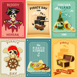 Pirate flat icons composition poster Stock Photos