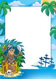Pirate frame with monkey Royalty Free Stock Images