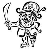 Pirate gai avec une épée dans sa main illustration de vecteur