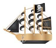 Pirate galleon. A black flag Pirate galleon stock illustration
