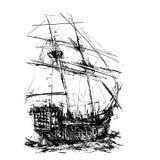 Pirate Galleon at Sea. Sketchy style sailing pirate ship at sea royalty free illustration