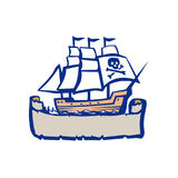 Pirate Galleon Ship Sailing Retro. Illustration of a Pirate sailing galleon Ship with ribbon scroll below on isolated backgroundl done in Retro style stock illustration