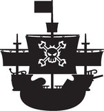 Pirate Galleon in Silhouette. Black and White Pirate Ship with Skull and Crossbones in Silhouette Vector Illustration An EPS file is also available vector illustration