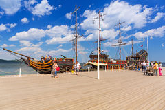 Pirate galleon at Sopot molo on Baltic Sea, Poland Stock Photos
