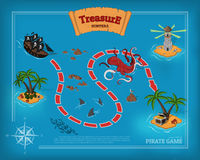 Pirate game in cartoon style. Seascape with a path image. Mobile interface with island and sea monsters: shark, kraken Stock Photo