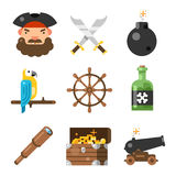 Pirate game flat icon set. Pirate flat icon set. Adventure and decor element for escape battling game or kid room. Vector flat style cartoon illustration  on Royalty Free Stock Photos