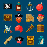 Pirate Game Flat Set Royalty Free Stock Photo
